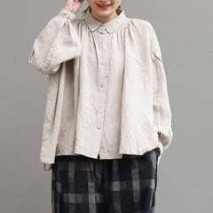 Loose Beige And Red Linen Shirt Women Casual Tops S4032
