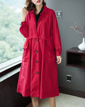 Women Casual Button Down Wind Coat For Spring 1905