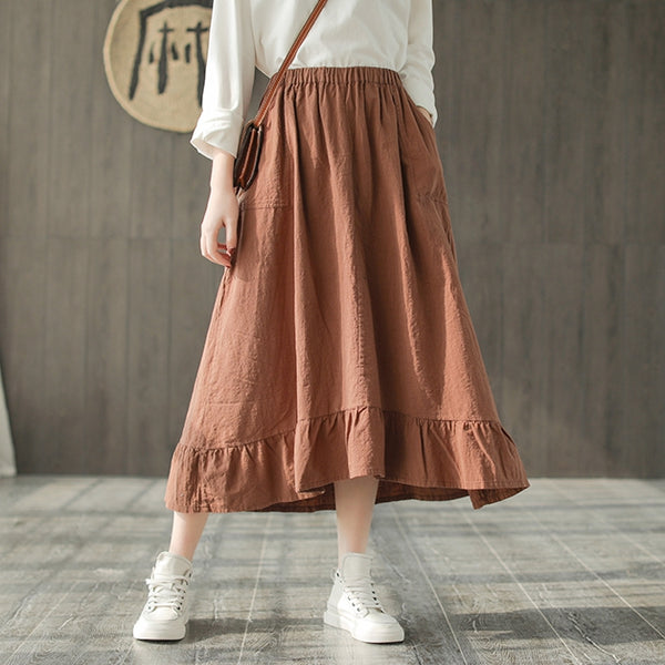 Casual Black And Orange Cotton Linen Spring Skirt For Women Q745