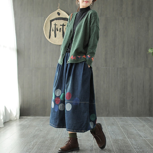 Women Vintage Loose Polka Dot Cowboy Skirt For Spring Q665