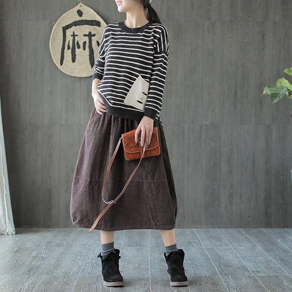 Casual Pure Color Corduroy Skirt Women Spring Clothes Q655