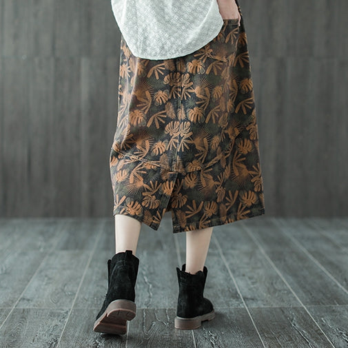 Vintage High Waist Coffee Print A Line Skirt For Women Q640