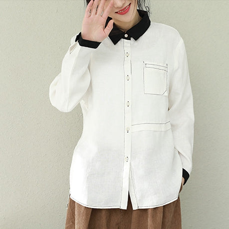 b8faa2f7f1ae Spring White And Coffee Linen Casual Shirt Women Loose Tops Q2290 ...