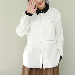 Spring White And Coffee Linen Casual Shirt Women Loose Tops Q2290