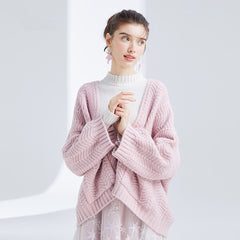Loose Pink And Blue Sweater Women Casual Knitwear For Women S3681