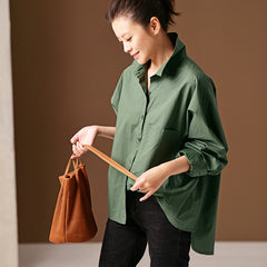 Green Loose Casual Shirt Women Cotton Spring Blouse C2910