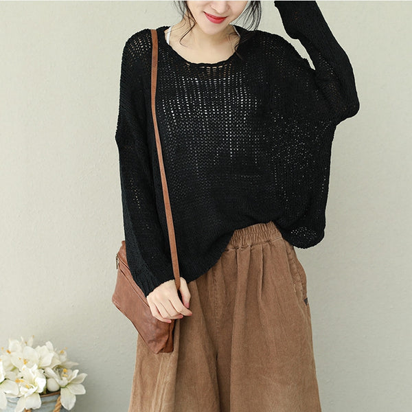Women Casual Pure Color Knitwear Loose Spring Tops M11033