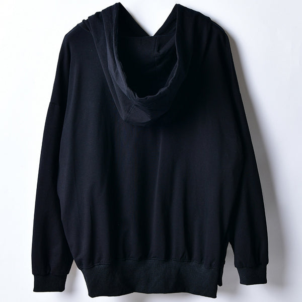 Casual Black Hoodie Cotton Fleece Women Loose Tops T1002