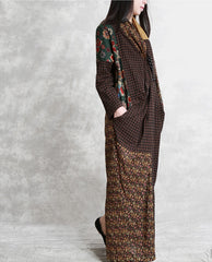 Vintage Quilted Loose Linen Maxi Dresses For Women Q11030