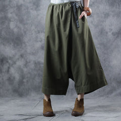Casual Green And Black Cotton Wide-leg Pants For Women W1819