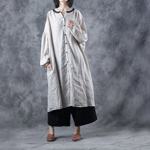 Spring Loose Long Linen Coat Women Casual Outfits W5108