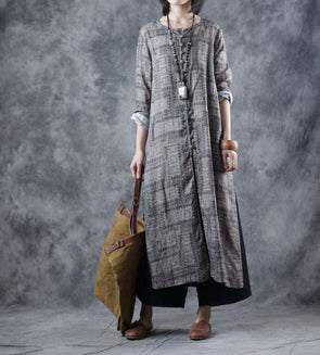 Vintage Print Button Down Linen Wind Coat Women Casual Outfits W1188