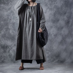Vintage Loose Gray Maxi Dresses Women Spring Linen Gown WF898