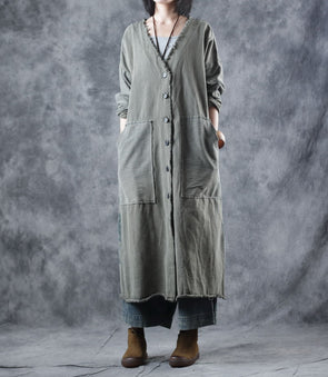 Green Vintage Loose Cotton Wind Coat Women Casual Outfits W1750