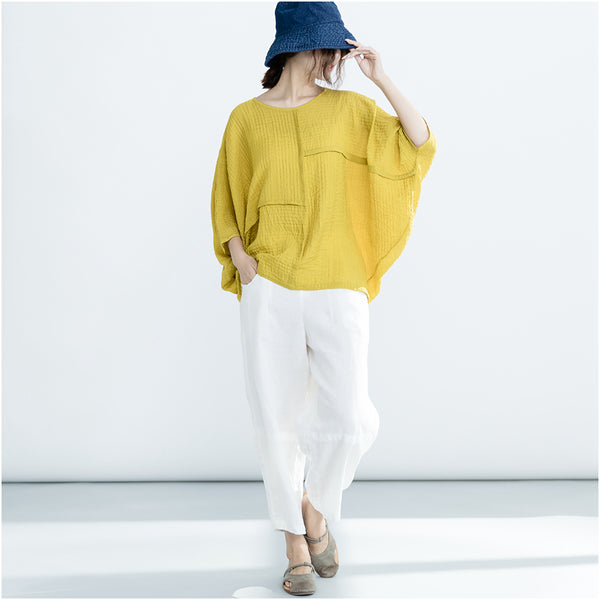 Casual Cotton Short Shirt Women Spring Summer Loose Blouse S12030