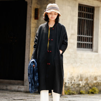 Black Loose Linen Wind Coat Women Casual Outfits S831