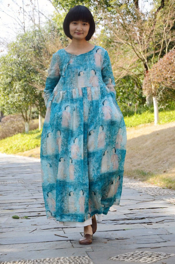 Blue Loose High Waist Linen Maxi Dresses Women Spring Casual Clothes Y603