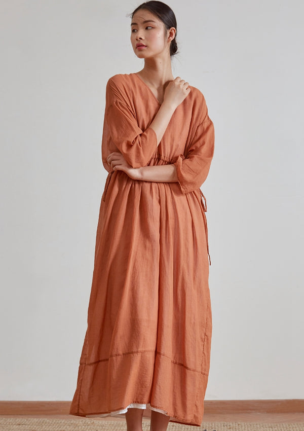 Women Spring Loose Orange Cotton Linen Maxi Dresses Q18036