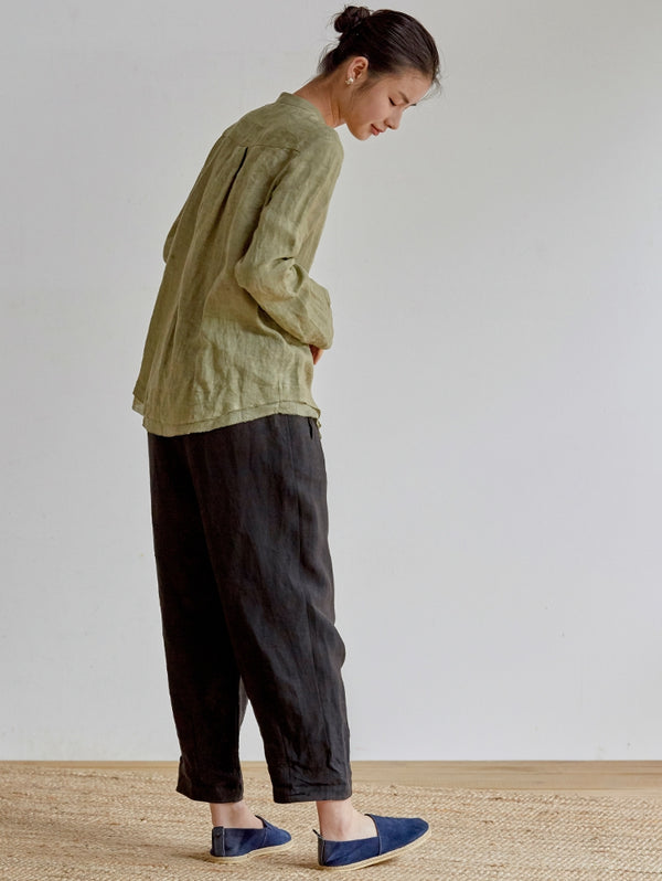 Women Loose Linen Harem Pants Casual Spring Trousers K18032