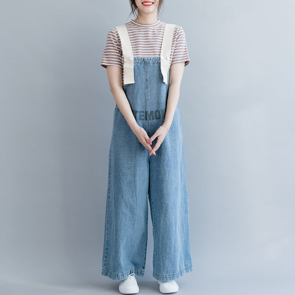 Casual Blue Denim Overall Women Loose Cowboy Suspender K18033