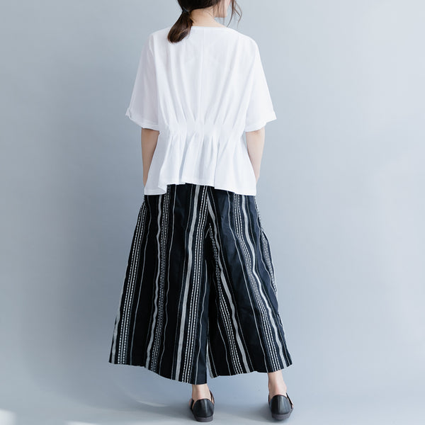 White And Black Casual Cotton Shirt Women Loose Summer Tops S19033