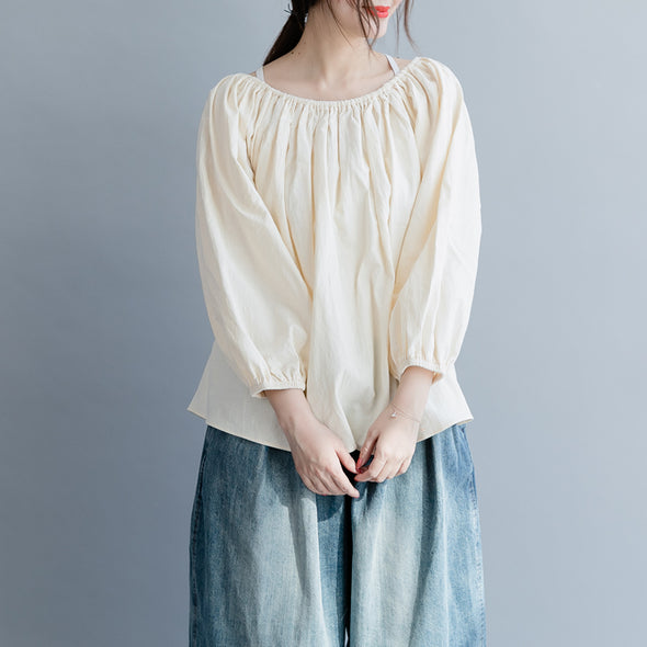 Loose Cotton Linen Short Blouse Women Casual Cute Tops S19038