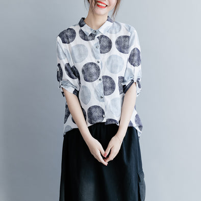 Women Casual Short Cotton Blouse Loose Polka Dot Shirt S20033