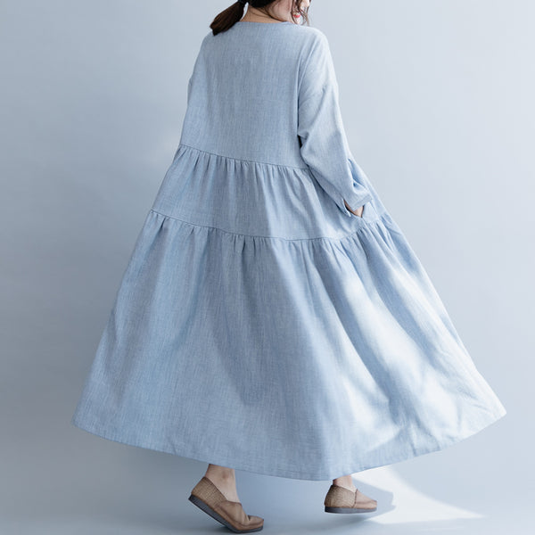 Loose Blue Cotton Linen Maxi Dresses Women Casual Clothes Q19033