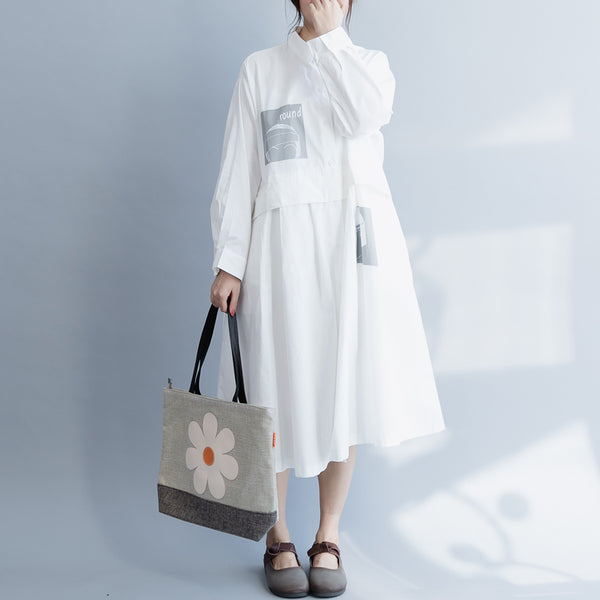 White Loose Cotton Dresses Women Casual Spring Clothes Q19037