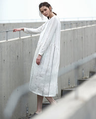 Loose Beige Striped Linen Maxi Dresses For Women Q25031