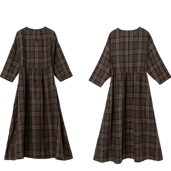 Coffee Plaid Linen Loose Maxi Dresses Women Spring Clothes Q25035