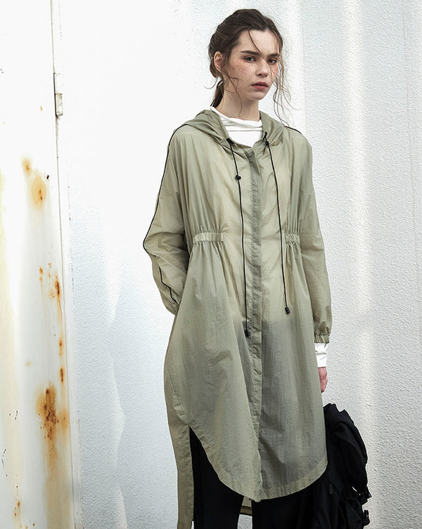 Loose Green Hoodie Thin Coat Women Casual Long Outfits C25033