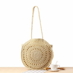 Women Fashion Straw Round Shoulder Bag Summer Beach Bag B25034