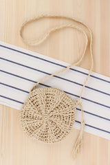 Simple Round Tassels Straw Shoulder Bag Women Handmade Beach Bag B25035