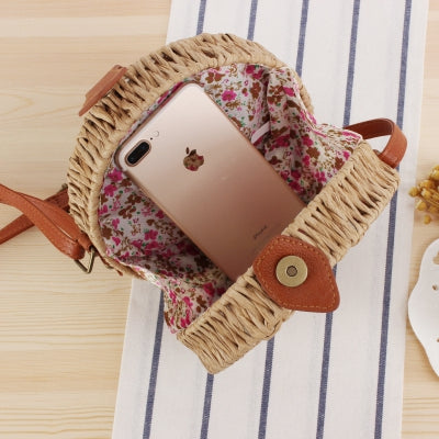 Women Summer Handmade Bag Round Twine Shoulder Bag B25038