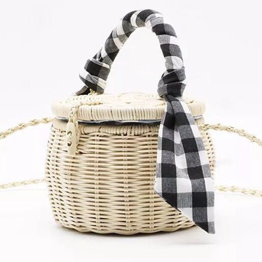 Cute Rattan Shoulder Bag Women Handmade Hand Bag Bucket Bag B26032
