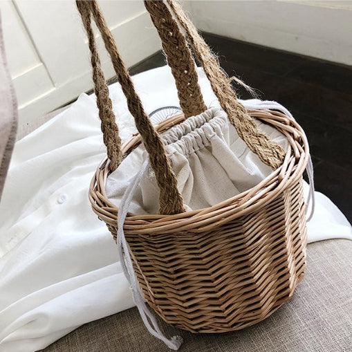 Rattan Mini Bucket Bag Handmade Hand Bag For Women B26033
