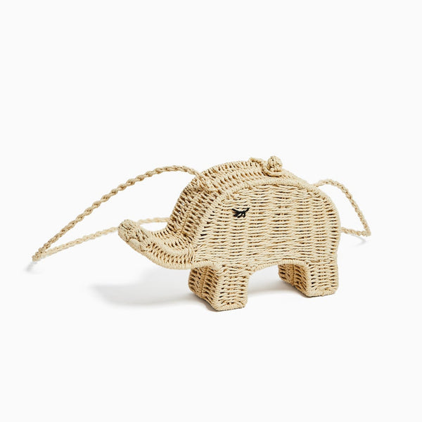 Khaki Cute Elephant Bag Summer Straw Shoulder Bag For Women B26036