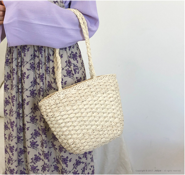 Korea Style Simple Straw Hand Bag Women Summer Vacation Bag B26037