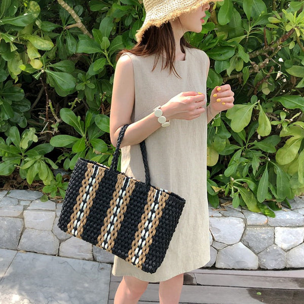 Casual Striped Handmade Bag Straw Hand Bag Vacation Bag For Women B26038
