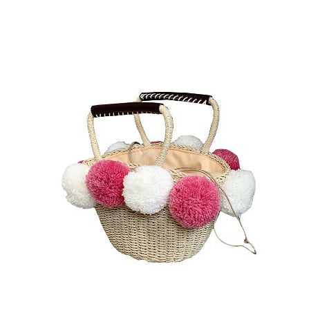 Cute Ball Top Hand Bag Women Vacation Bag Handmade Straw Bag B26039
