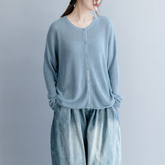 Blue And Beige Button Sown Thin Knitwear Women Loose Tops S25039