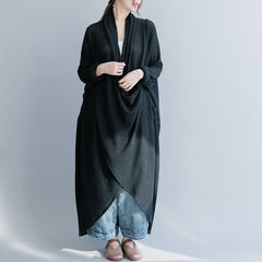 Black Loose Knitted Gown Women Casual Maxi Dresses Q26036