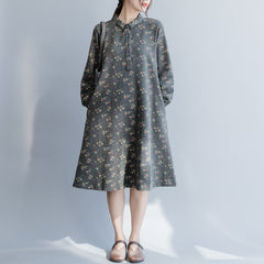 Casual Gray Cotton Floral Dresses Women Loose Spring Clothes Q26037