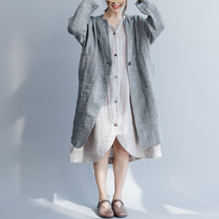 Gray Plaid One Button Casual Long Coat Women Loose Linen Outfits C25037