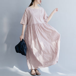 Cute Pink Cotton Maxi Dresses Loose Summer Clothes For Women Q26038