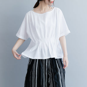 Women Summer White And Black Collect Waist Cotton Casual Shirt S26033