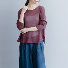 Casual Pure Color Thin Knitwear Women Loose Spring Tops S26034