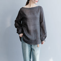 Loose A Line Thin Linen Shirt Women Casual Spring Blouse S26035