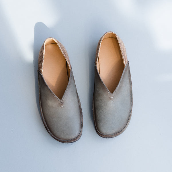 Women Casual Gray And Beige Leather Flat Shoes X25030